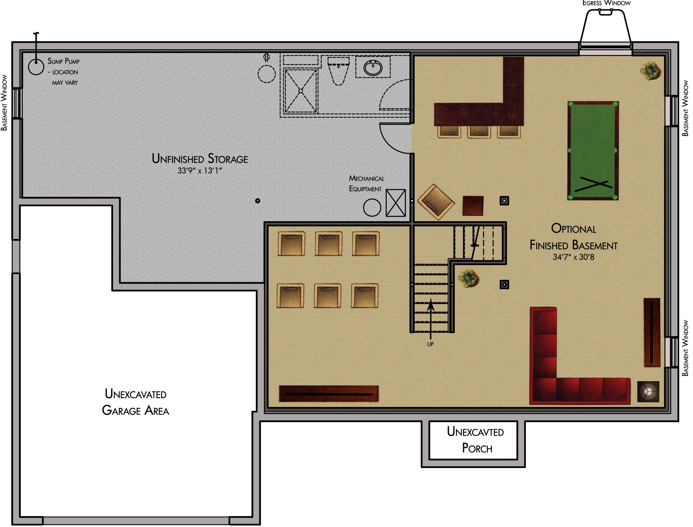 Free home plans basement remodeling floor plans - Semi basement house plans multifunctional spaces ...
